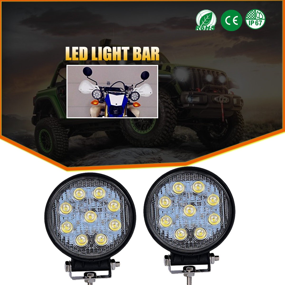 2x 3Inch LED Light Bar Flush Mount Cube Spot PODS Fit OFFROAD SUV 4WD FORD JEEP
