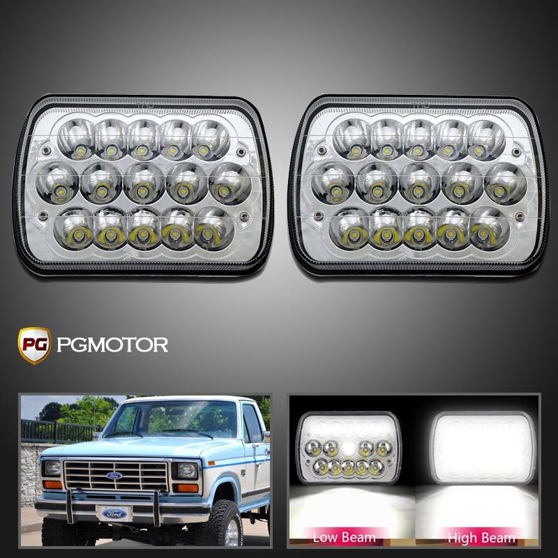 ... 1978-1986 Ford F-150 7X6 H6014//H6052//H6054 Chrome Crystal Square Headlights