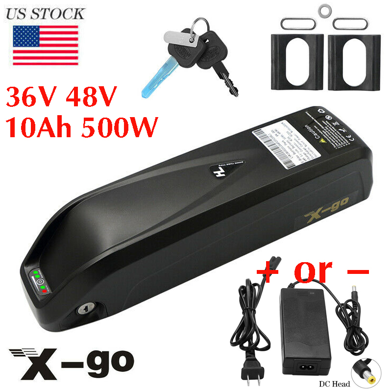 X-go Lithium E-Bike Battery 36V 48V 10AH 500W For Electric Bicycle Scooter US