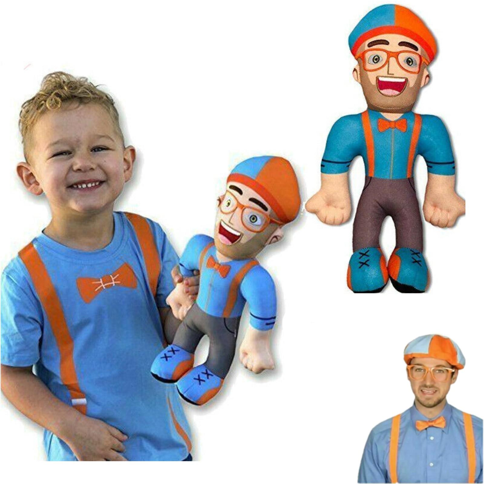 "13/"" Blippi Cosplay Hat Plush Figure Toy Soft Stuffed Doll for Kids Children Gift"