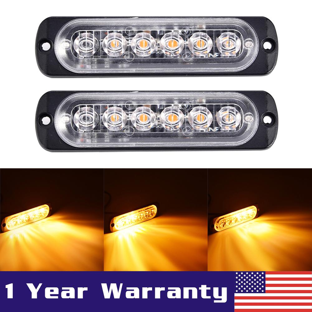 2X Car Truck 6 LED Strobe Light Flash Emergency Hazard Warning Amber Lamp