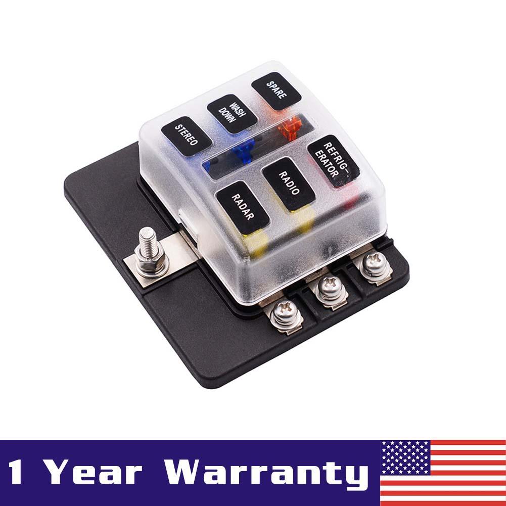 6 Way ATO//ATC Blade Fuse Box Block Holder LED Indicator For 12V/&24V Car Marine