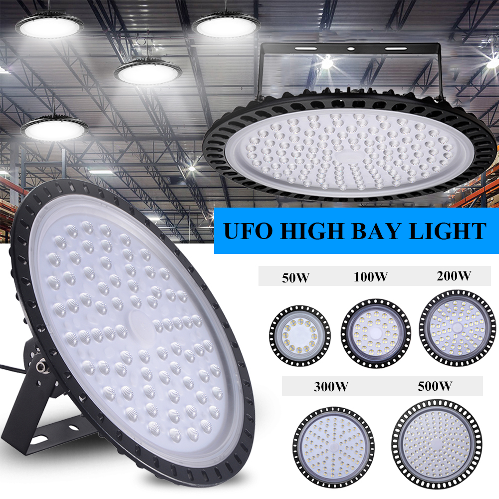 50W-500W Slim UFO LED High Bay Light Factory Industrial Warehouse Gym Work Lamp