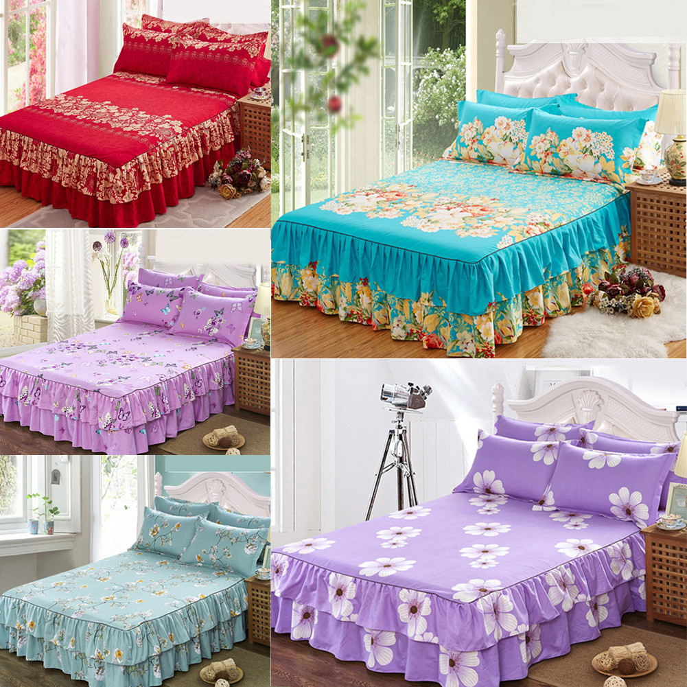 Floral Cotton Bedding Fitted Sheet Bed Skirt Valance Queen Size