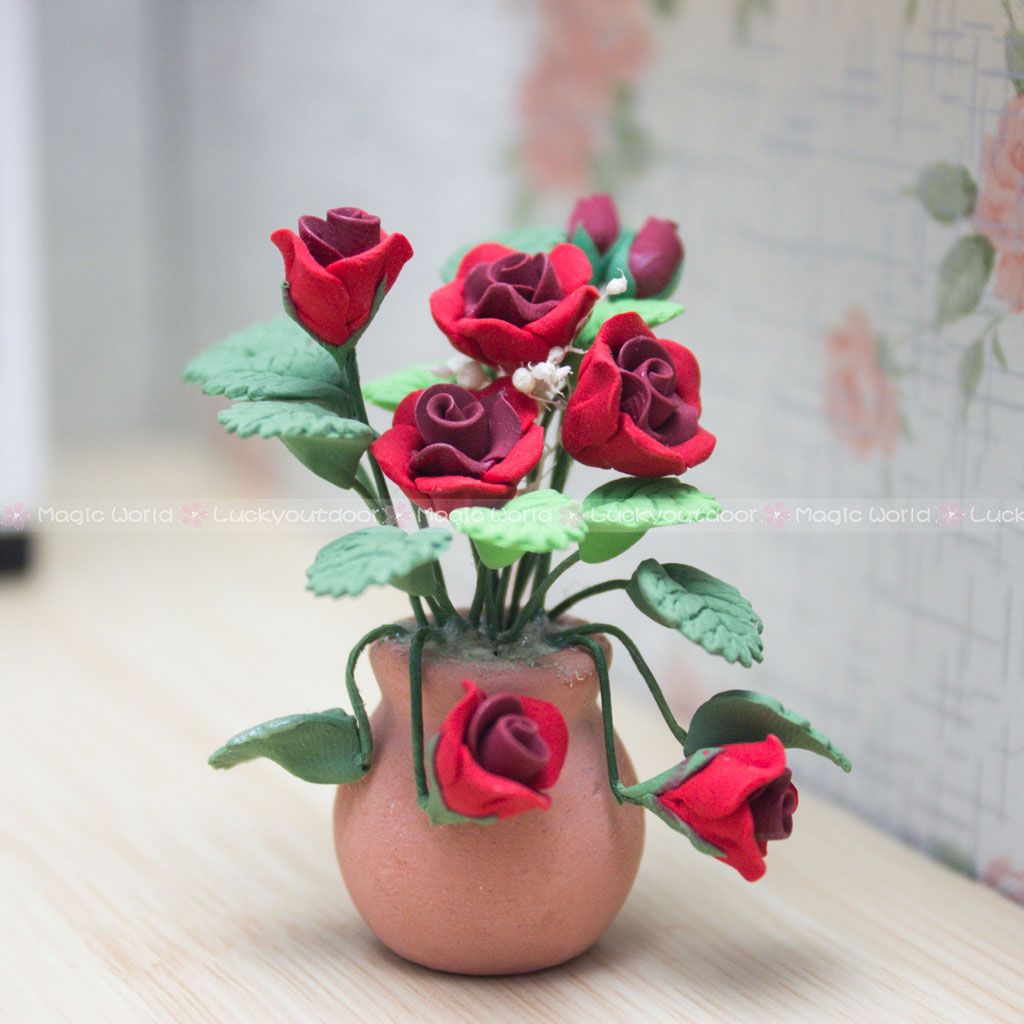 Dollhouse Miniature or Faiary Garden Handcrafted Red Sunflower Plant in  Pot