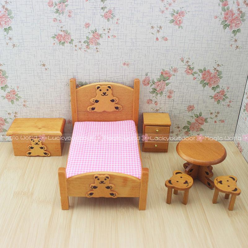 12th Bear Wooden Furniture Dollhouse Miniature Bedroom Set Children Toys