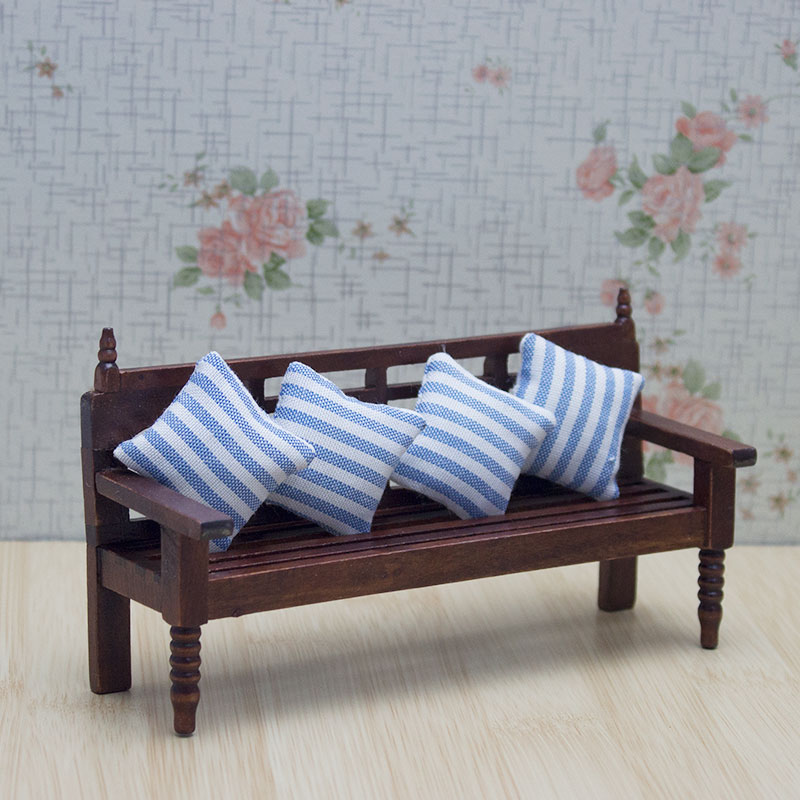 Wood Bench Chair Sofa Pillows Cushion