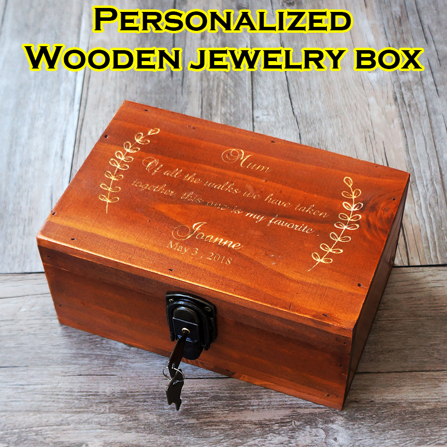 Details About Personalized Engraving Retro Wooden Jewelry Box Custom Mother Gift Birthday Gift