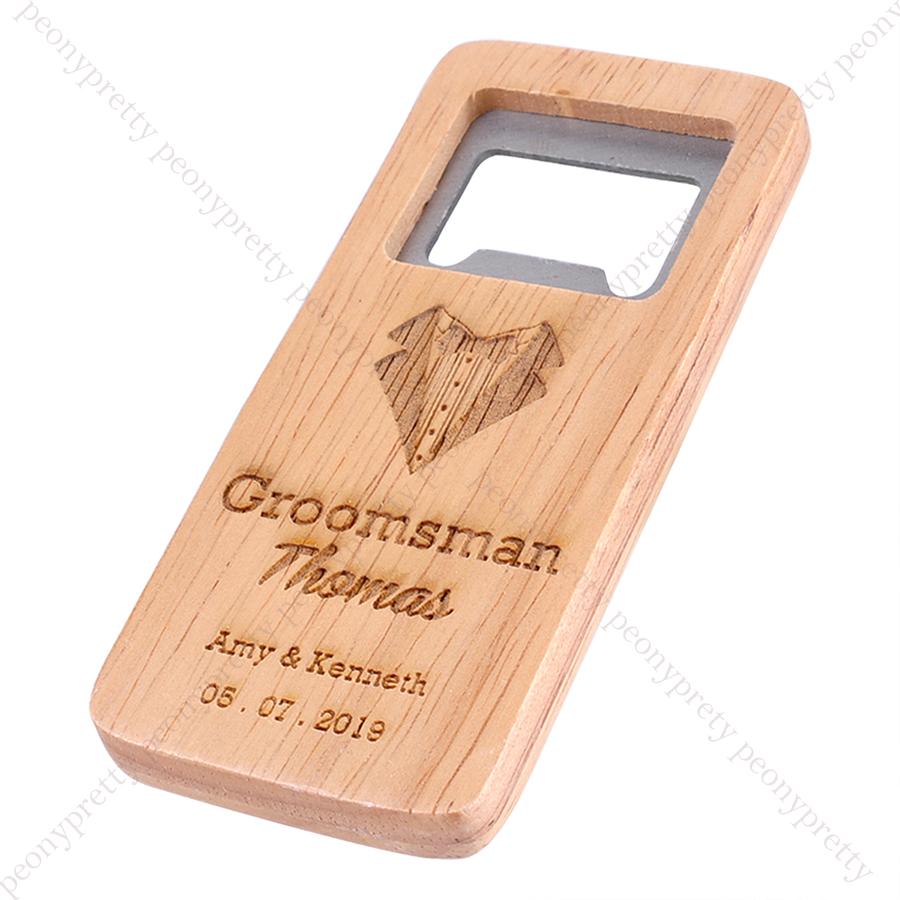 Personalised Wooden Beer Bottle Opener For Groomsmen Bar Gift Wedding Favors n