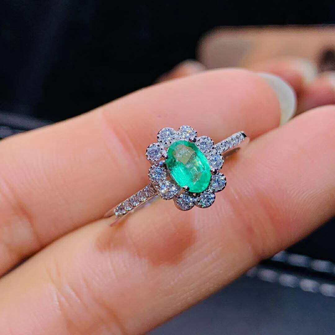 Certified Natural Colombian Emerald Ring 925 Sterling Argent Blanc Femme Cadeau