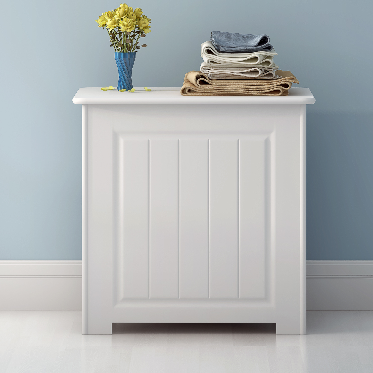Details About White Wooden Bathroom Storage Laundry Box Cloth Toy Unit Trunk Hinged Lid Home