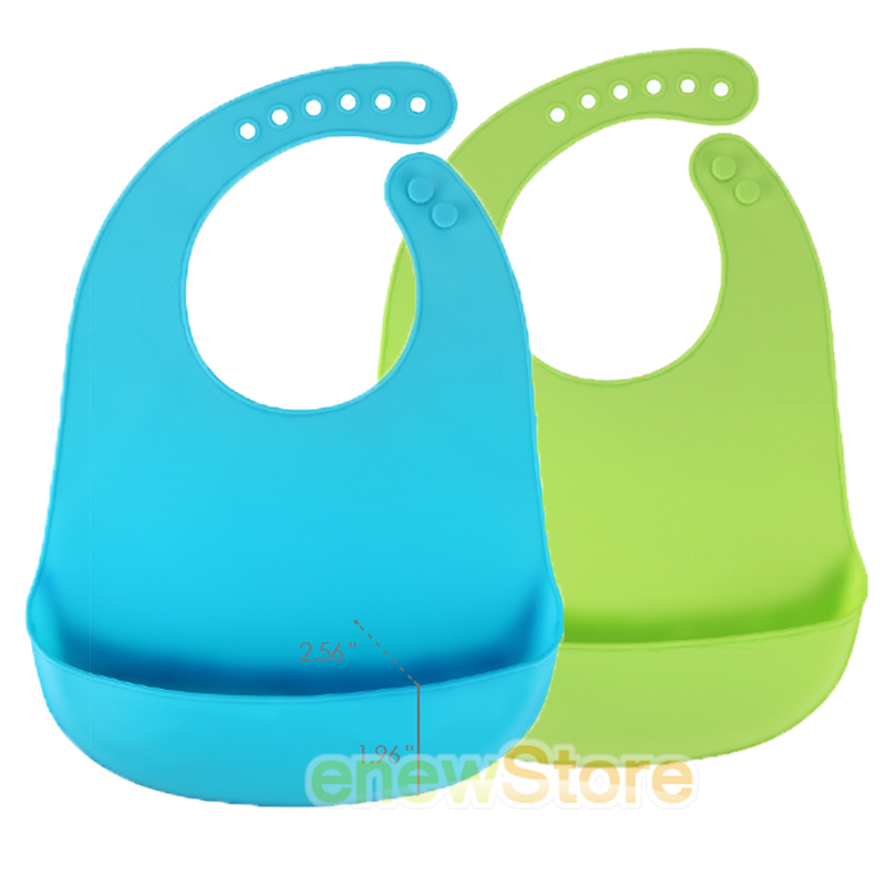 2 PACK EASY TO CLEAN SILICONE BABY BIBS SILKY SOFT /& COMFORTABLE
