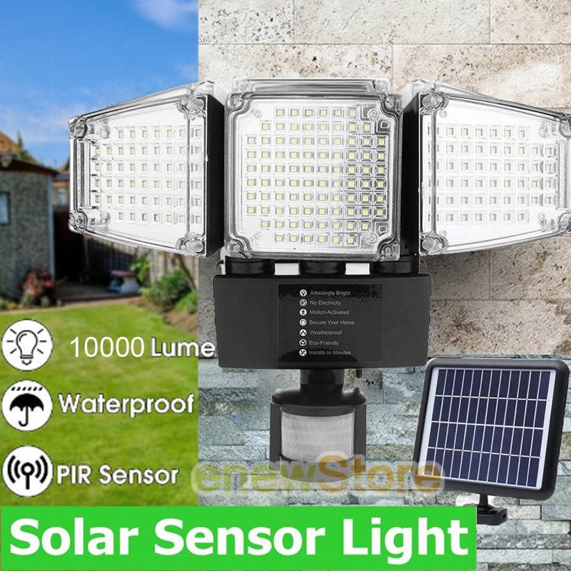 2X Solar Power LED Lamp Garden Wall Motion PIR Sensor Yard Light Garage Outdoor