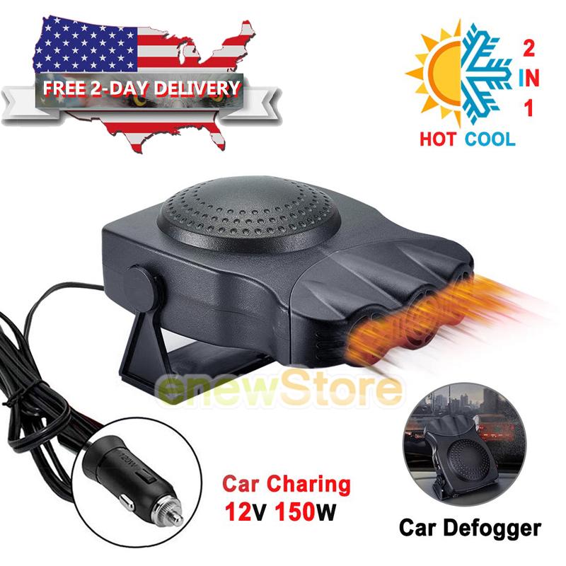 Fast Heating Defrost Defogger 12V 150W Adjustable Windscreen Heater Cooling Fan 2 Wide Outlet Portable Car Heater