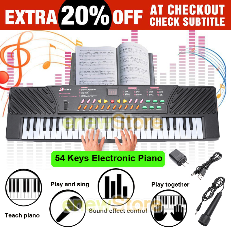 Details about 54 Keys Musical Electronic Keyboard Kid Electric Piano Organ  Black w/ Microphone