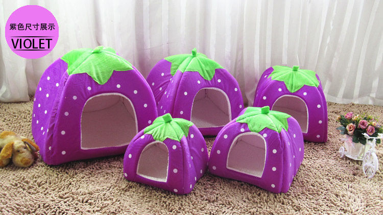 Cute Purple Strawberry Pet Dog Cat Puppy Kennel Cate House Bed Sofa 4 Sizes