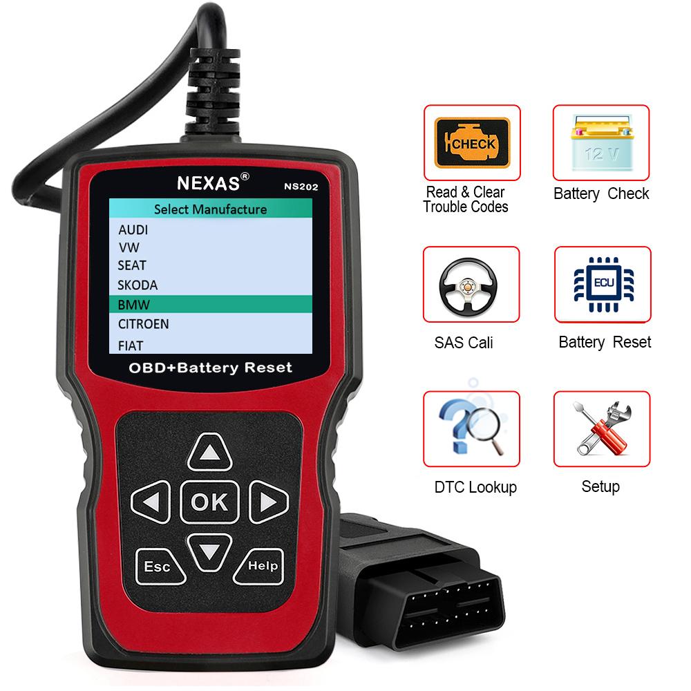 Nexas NS202 OBD OBD2 Diagnostic Tool Battery Reset SAS Auto Car Code Reader  Tool