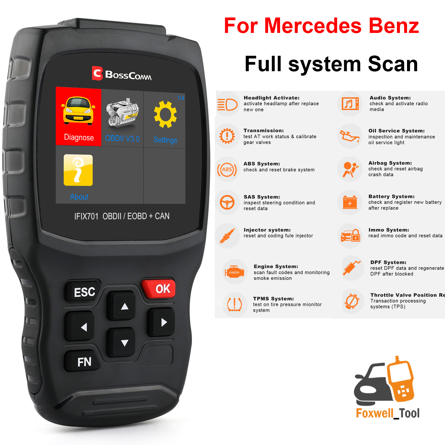 Details about IFIX701 For BENZ Car Engine ABS SRS airbag DPF Immobilizer  TPMS EPB Oil reset