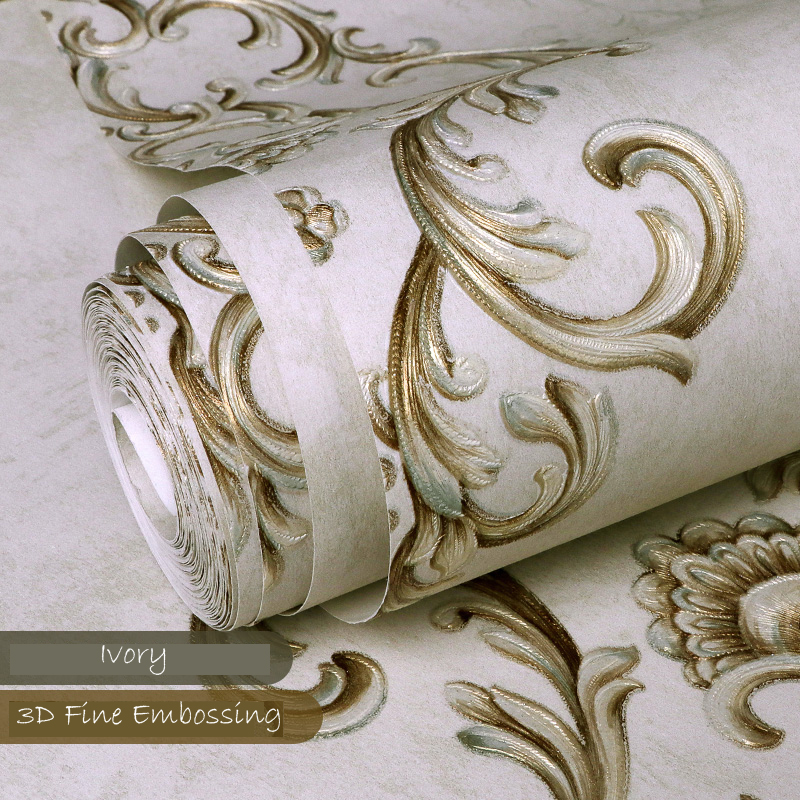 10M 3D Vintage Elegant Gold Damask Wallpaper Embossed Textured Non-woven Roll