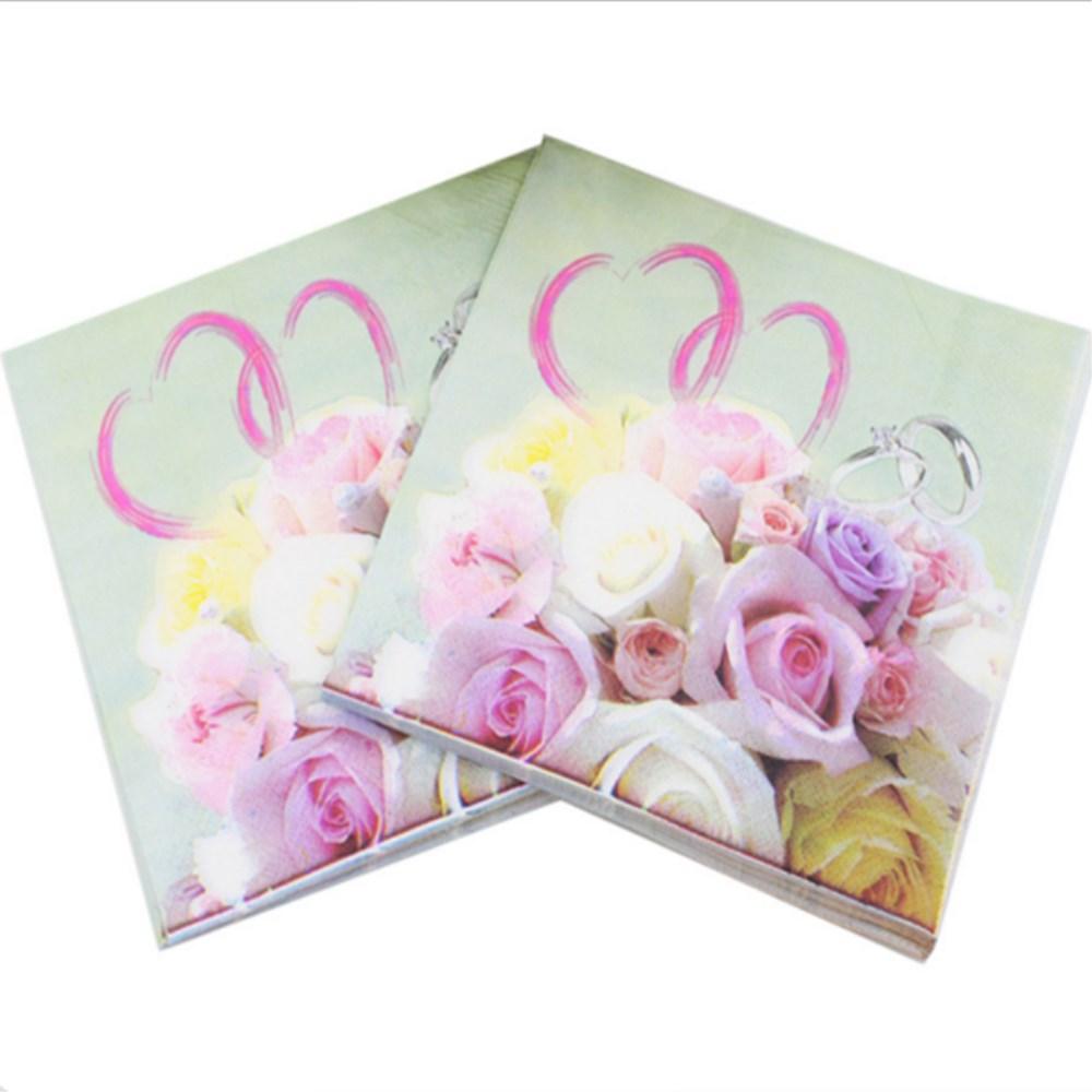 20pcs 3333cm Wedding Love Paper Napkins Printed Rose Napkin Supply