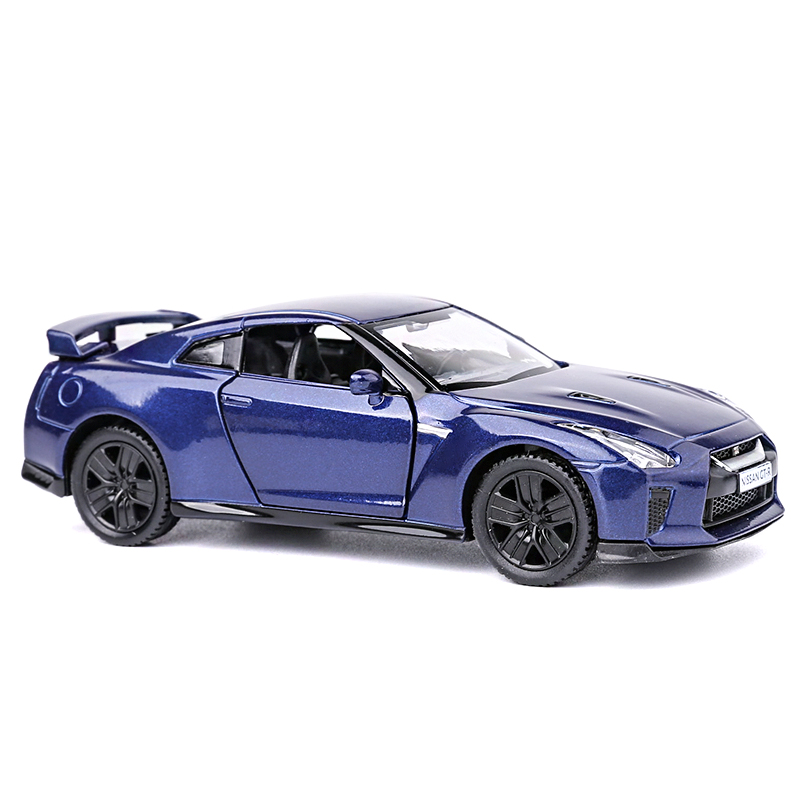 Model Cars Nissan GTR R35 Alloy Diecast 136 Toys Open Two Doors 5 Gifts Blue