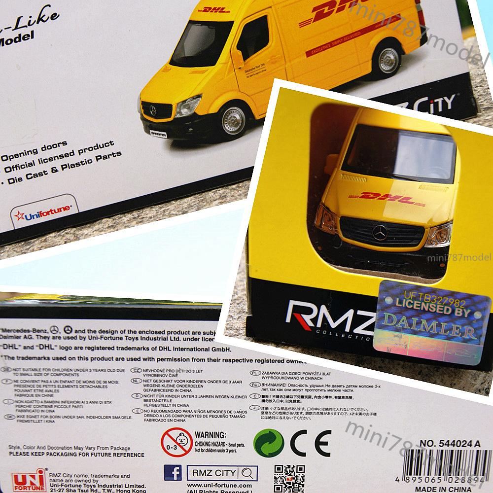"""Mercedes Benz Sprinter Van DHL Model Cars 5"""" Open Three"""