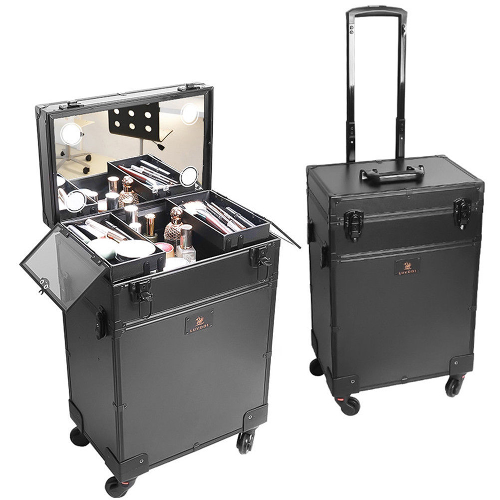 Makeup Train Case Beauty Trolley Vanity Box Lighted Make