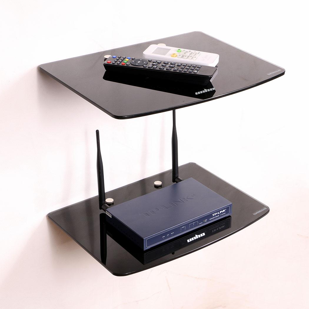 2 Tier Floating Wall Mount Bracket Shelf Sky Box DVD XBOX HIFI Unit ...