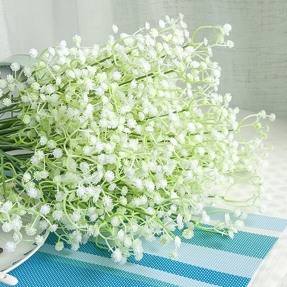 151020 Artificial Flowers White Gypsophila Floral Bouquet Fake