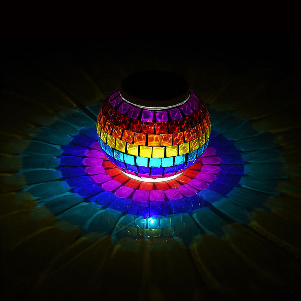 Solar Powered Mosaic Glass Ball Led Light Color Changing Waterproof Outdoor Lamp