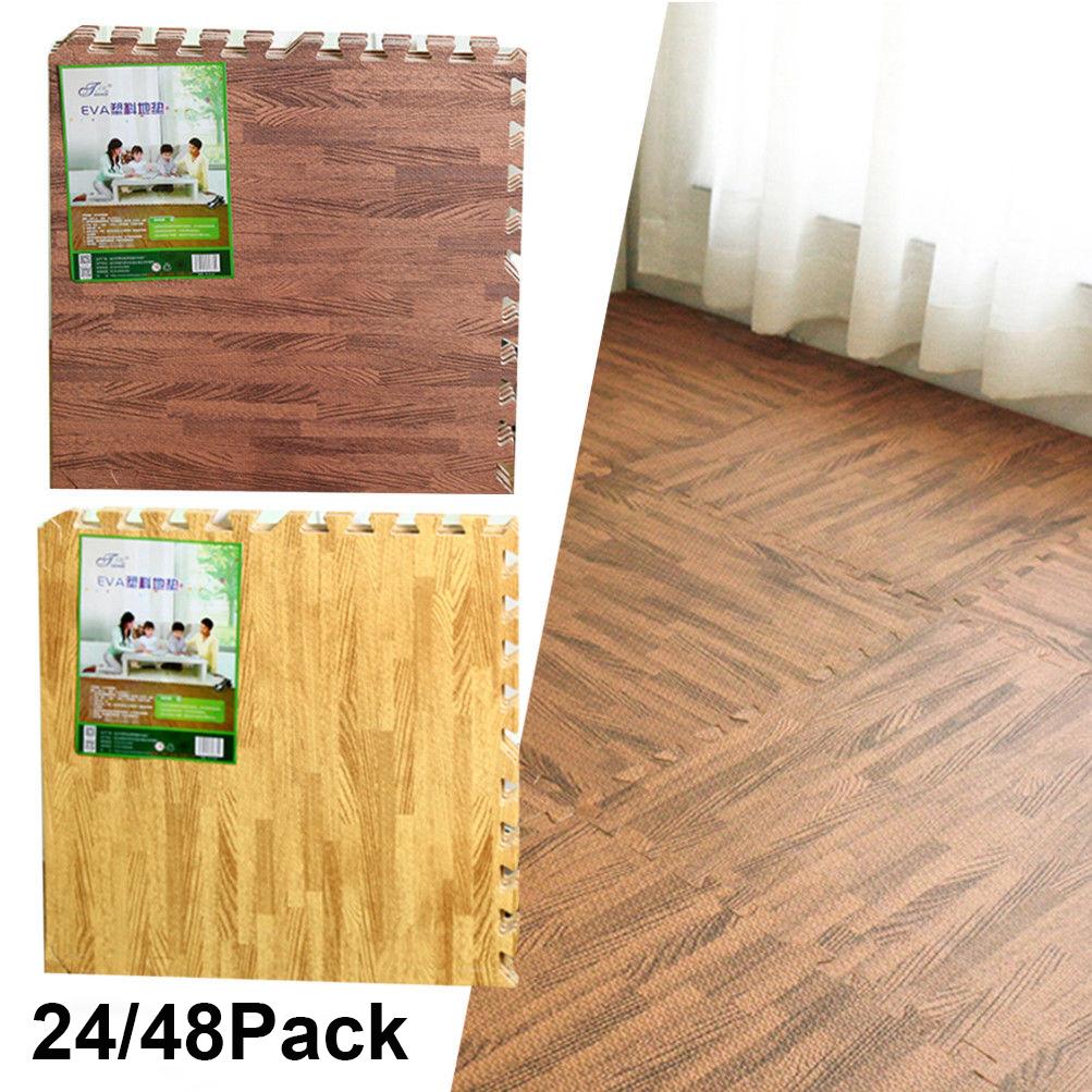 Eva Foam Floor Wood Effect Interlocking Gym Play Home Workout Soft Tiles Mats Uk