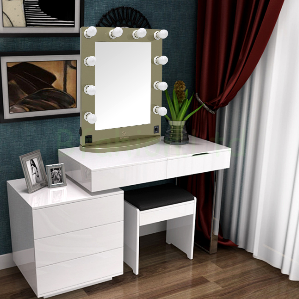 Hollywood Lighted Makeup Vanity Mirror Dressing Table Mirrors With10 LED  Bulbs