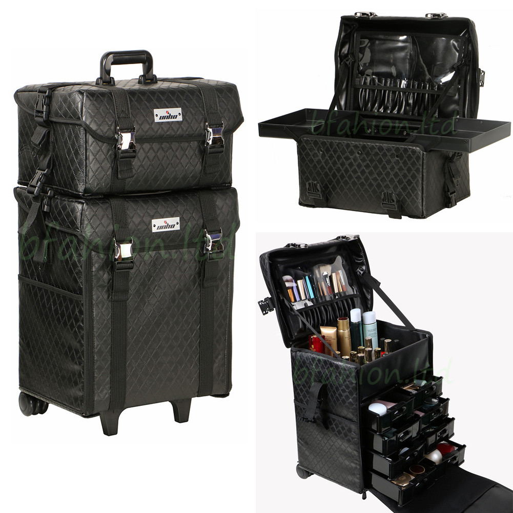 2 In 1 Makeup Cosmetic Case Leather Beauty Trolley Artist Rolling Bag Organizer