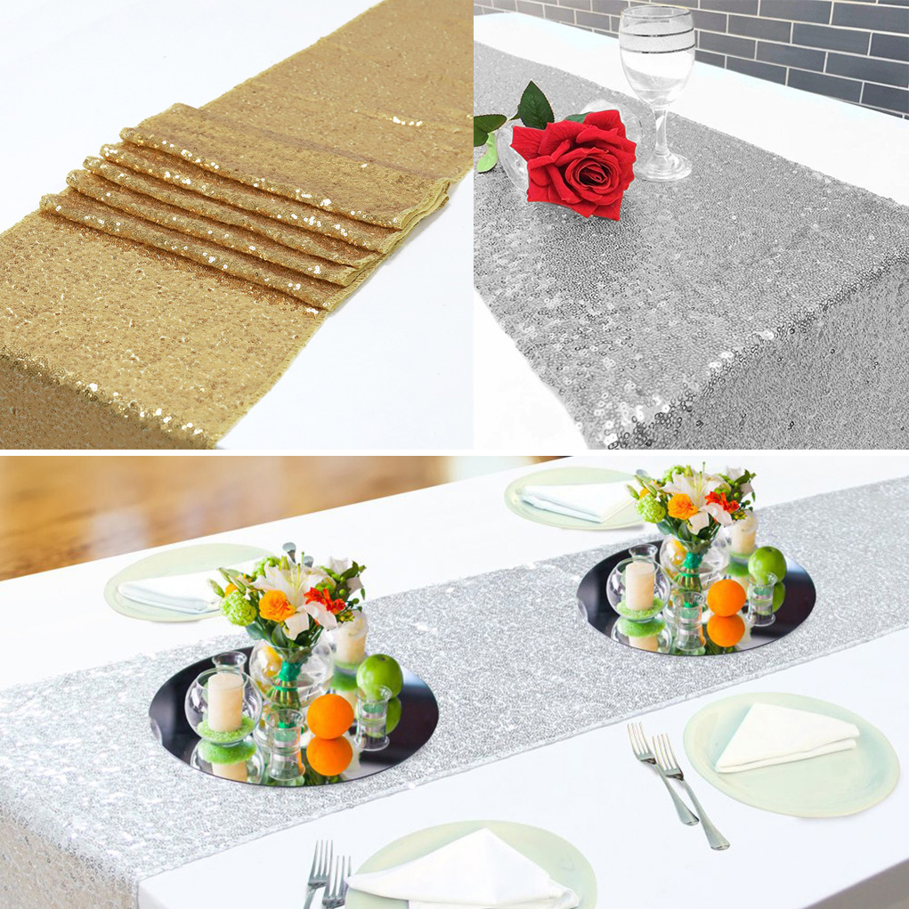 Silver//Gold Sequin Table Runner For Wedding Party Home Table Decoration 12x108/""
