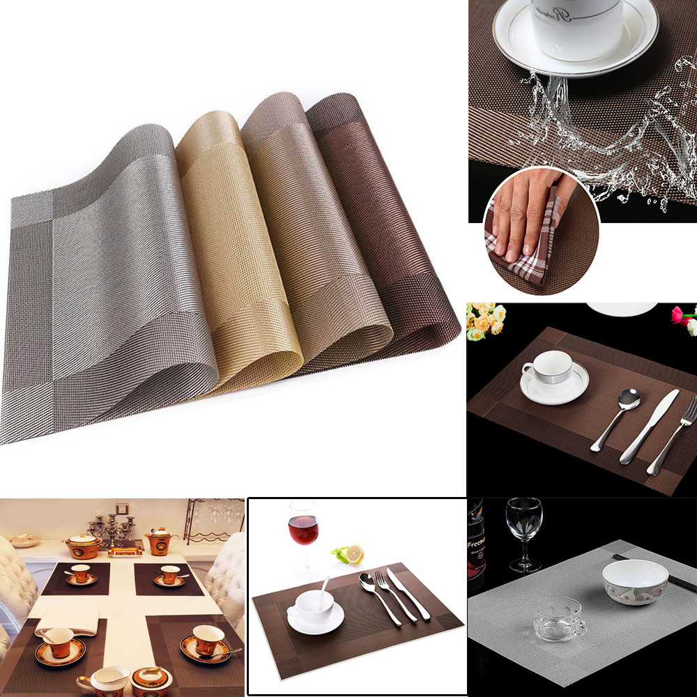 Image Is Loading 4PCS PVC Dining Room Weave Woven Placemats Table