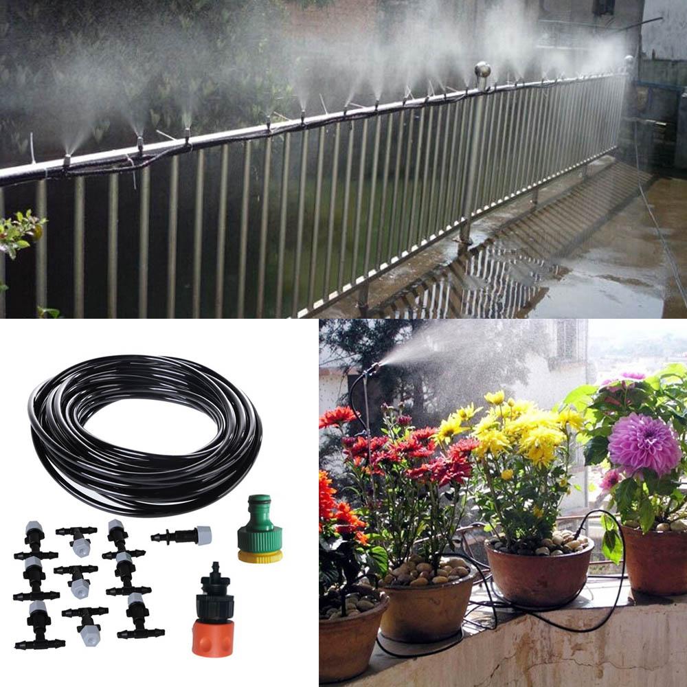 Details about 33ft Garden Patio Misting Cooling System Water Mister Nozzles  Mist Sprinkler Kit