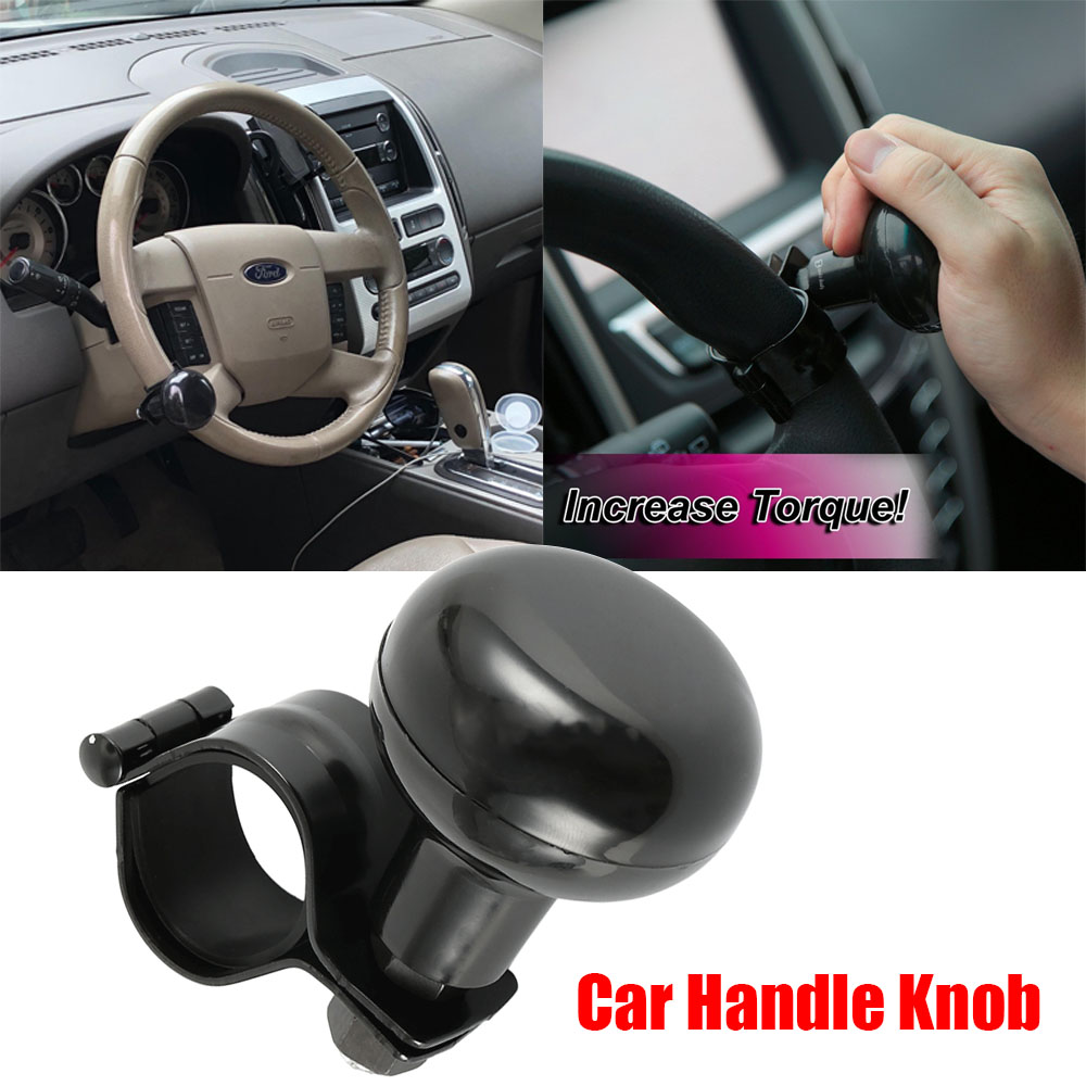 Black Heavy Duty Suicide Knob Car Truck Steering Wheel Spinner Handle Knob Good
