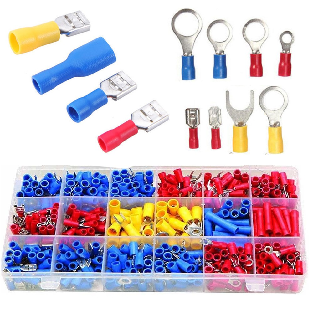 520pcs Assorted Insulated Electrical Wire Terminals Crimp Connectors Spade Kit