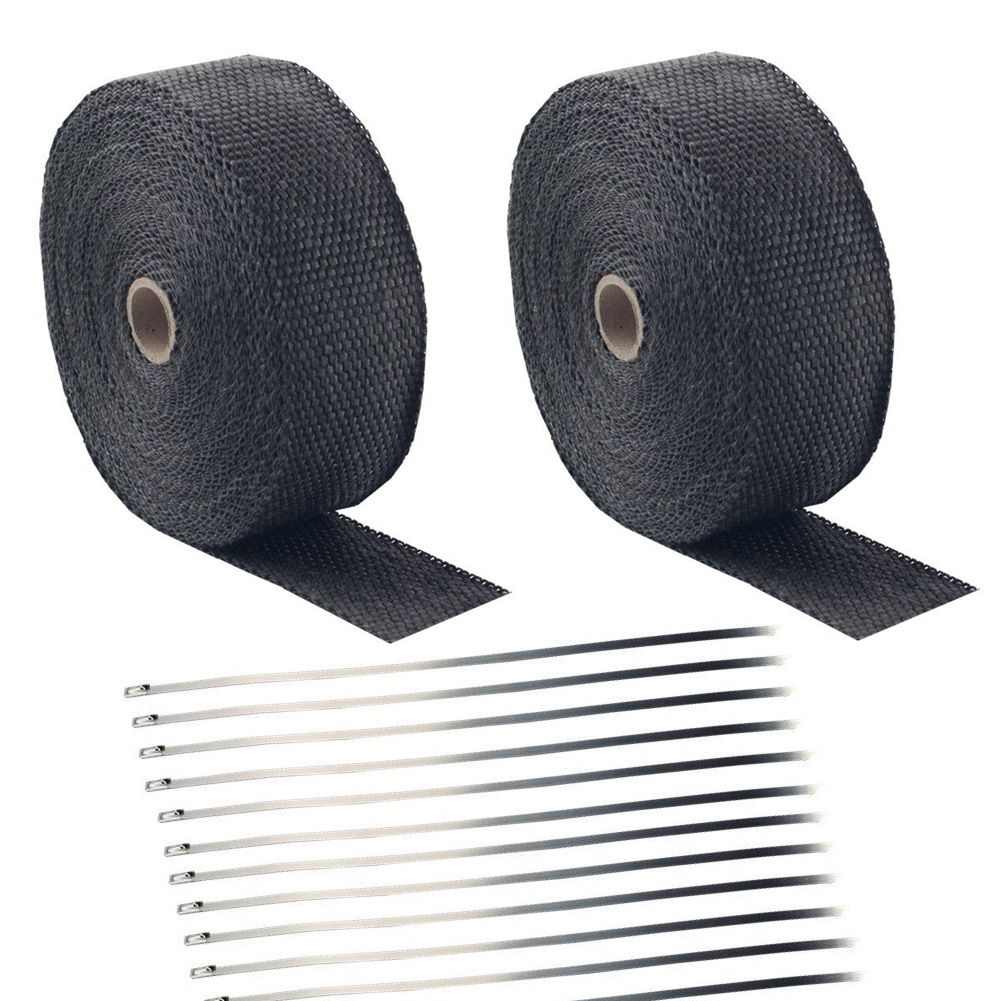 "2/"" ROLL Black Fiberglass Exhaust Header Pipe Heat Wrap Tape Stainless Steel Tie"