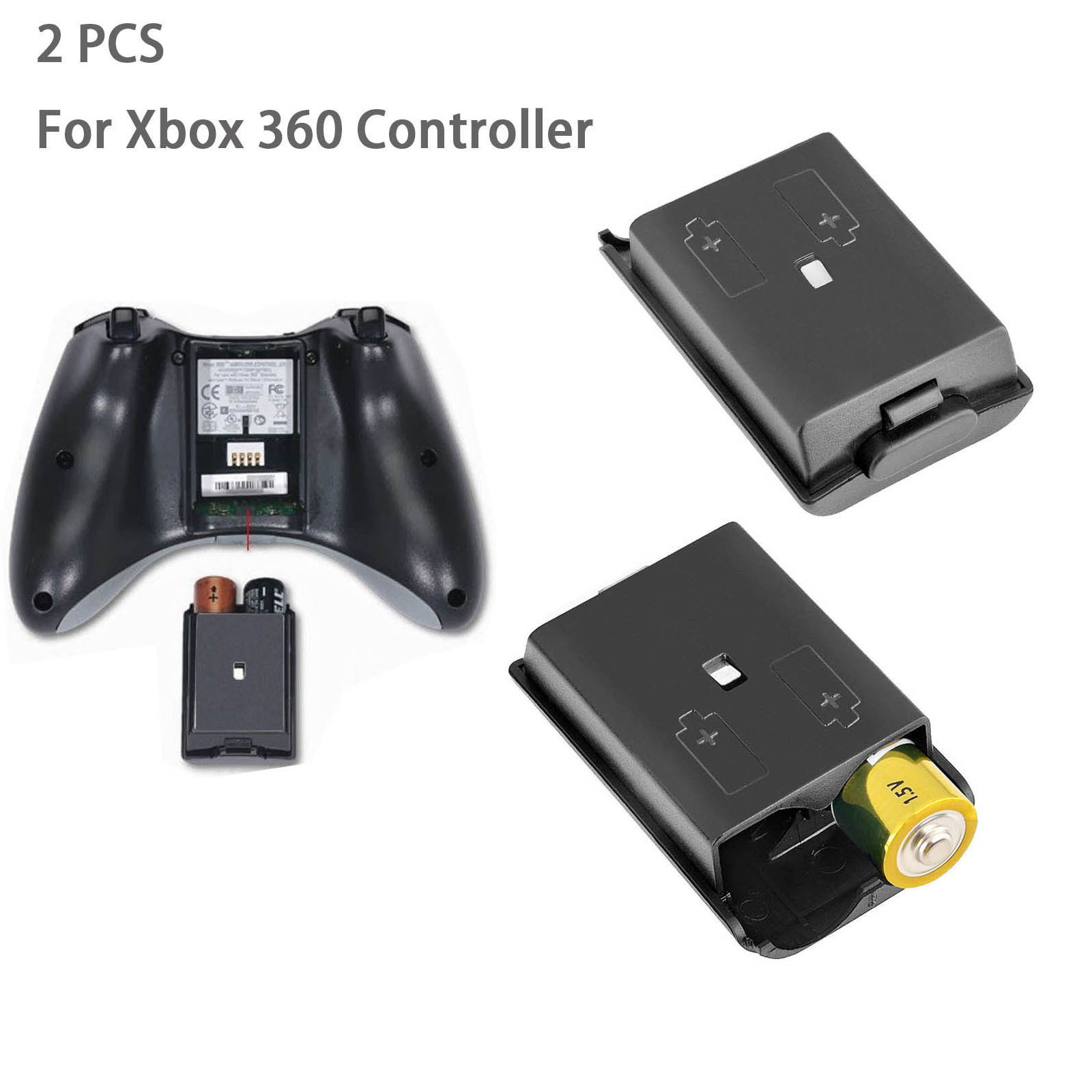 Details about 2X AA Battery Back Cover Pack Case Shell Replace Xbox 360  Wireless Controller