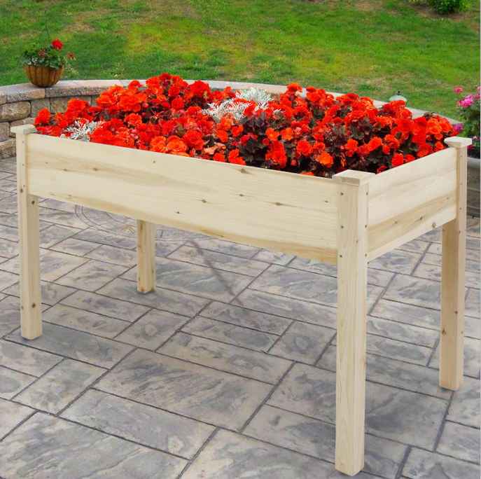 Zeny Wooden Raised Garden Bed Planter Wood Wagon
