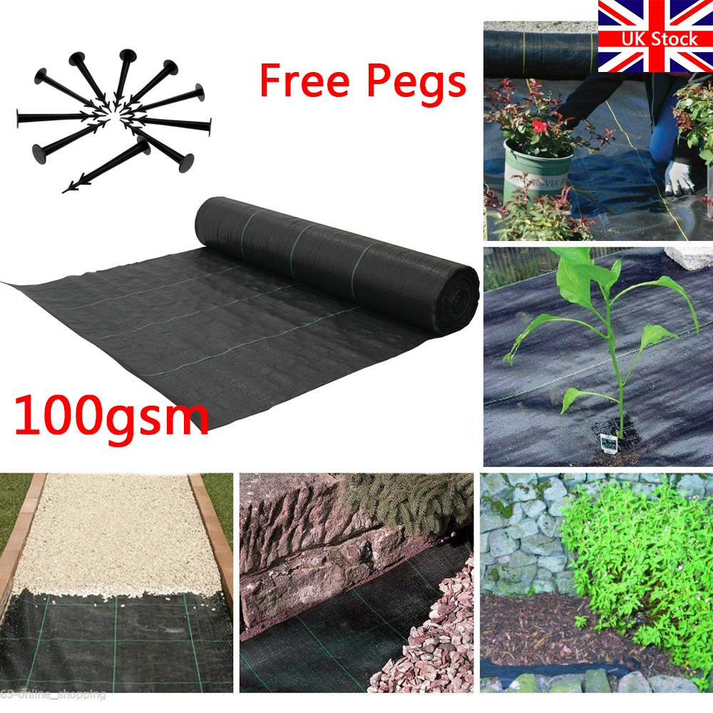 1m x 50m Woven Weed Control FABRIC Ground Mulch Landscape 50 Pegs Yuzet FREE PEGS