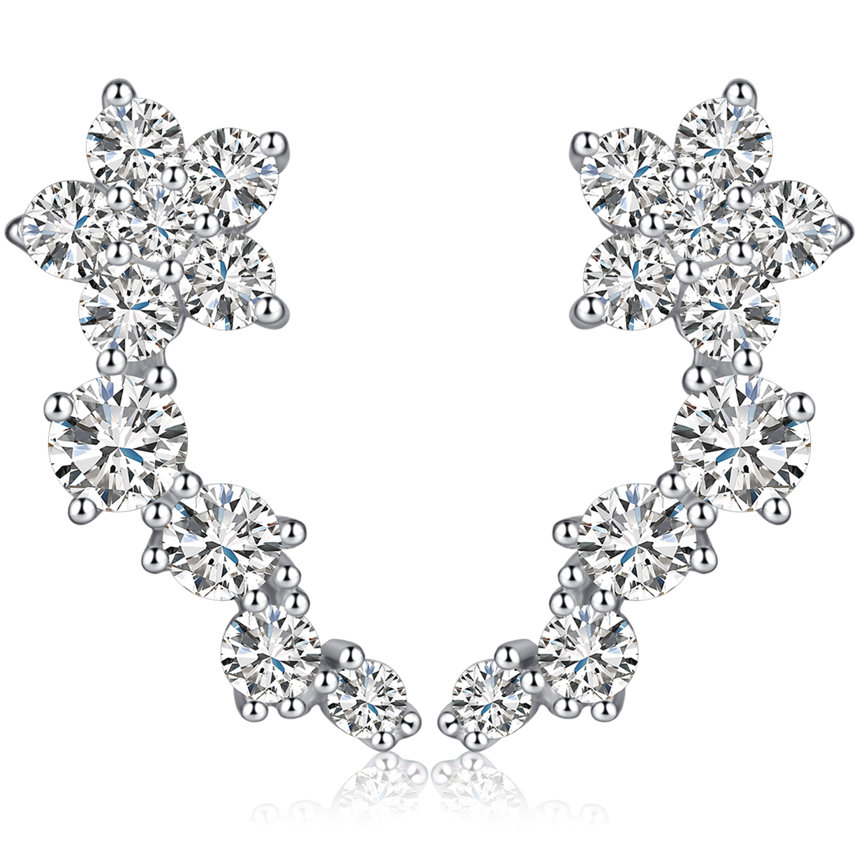 925 Sterling Silver Rhodium-plated CZ 1 Ear Climber /& 1 Stud Earrings