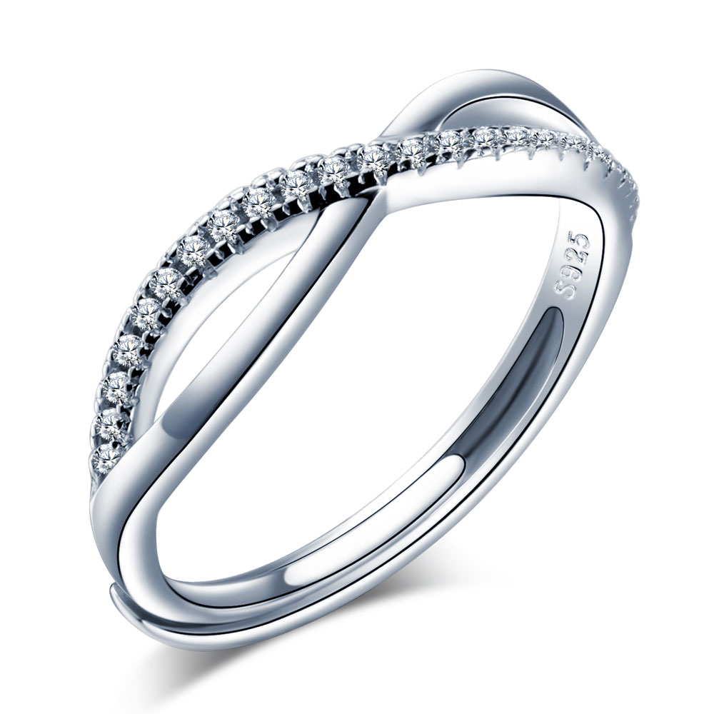 0214a63ec92cb Details about Women Infinity 925 Sterling Silver CZ Zirconia Engagement  Promise Ring 5.5-7.5