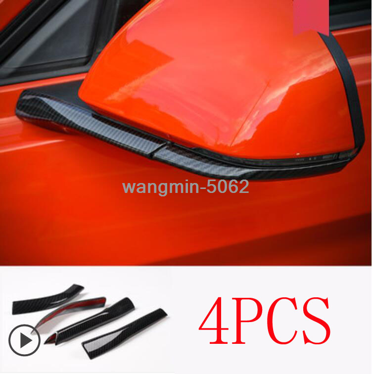 Carbon Fiber Rearview Side Mirror Cover Trim Strip For Ford Mustang 2015-2019