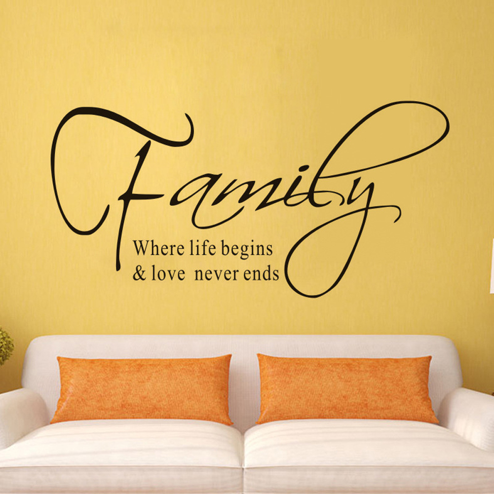 Family Letter Quote Removable Vinyl Decal Art Mural Home Decor Wall ...
