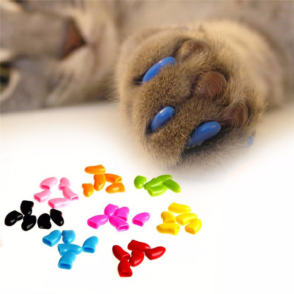 20 x New Plastic Cat Claws Nail Caps Dog Paws Cover Pet Sheath ...