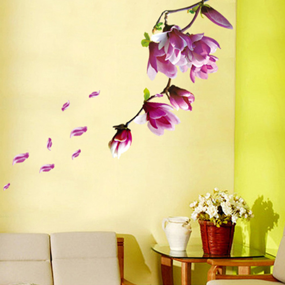 Mural Art Living Room Home Decor DIY Magnolia Flower Wall Decal ...