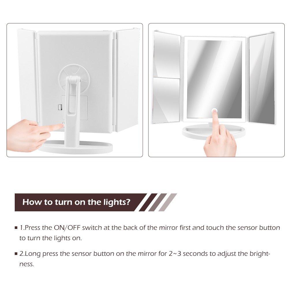 led kosmetikspiegel schminkspiegel make up spiegel 3 fach beleuchtung dimmbar ebay. Black Bedroom Furniture Sets. Home Design Ideas