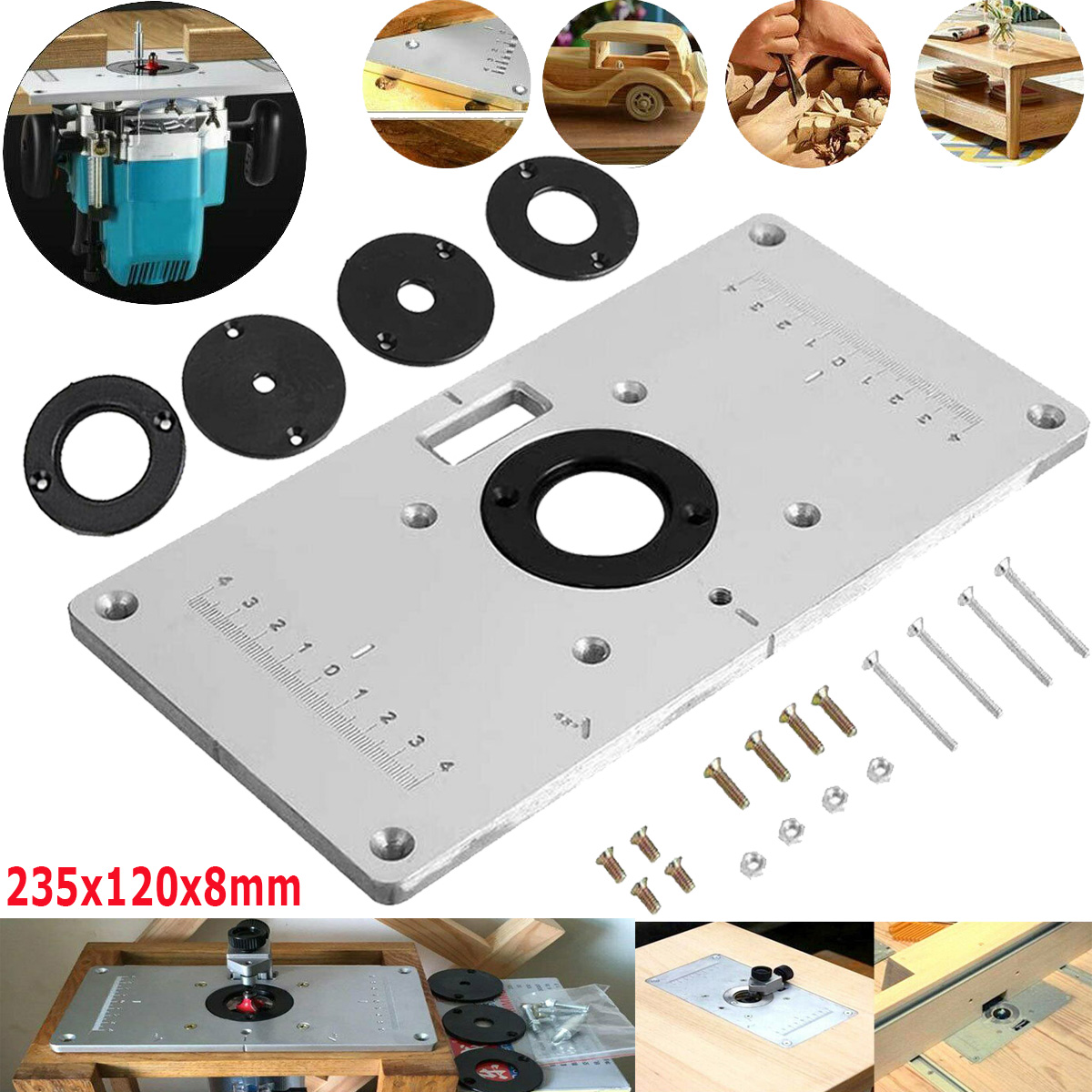 Details About Aluminum Router Table Insert Plate 4 Rings Screws For Woodworking Benches 700c